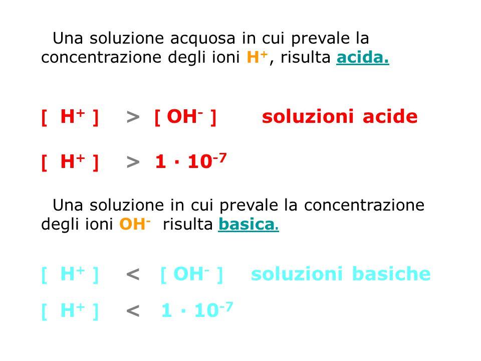 [ H+ ] > [ OH- ] soluzioni acide [ H+ ] > 1 · 10-7